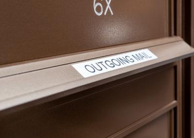 Outgoing mailbox at 2400 Hudson mail center