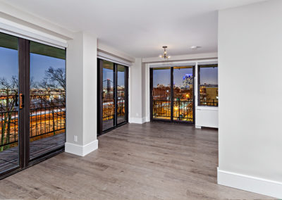 Incredible night time view from Fort Lee, NJ apartments for rent with hardwood flooring and large windows