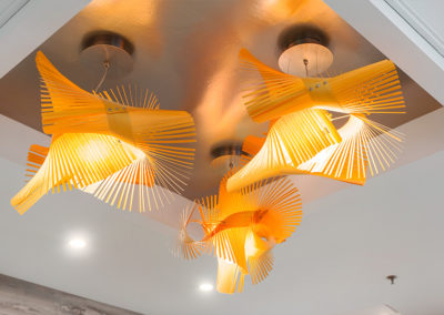 Contemporary lighting in lobby of 2400 Hudson Apartments